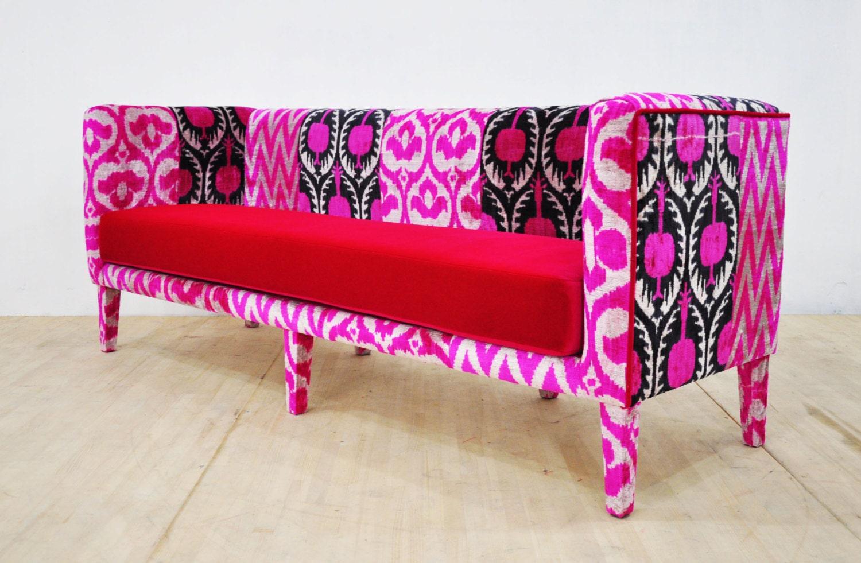 Pink ikat box sofa by namedesignstudio on etsy