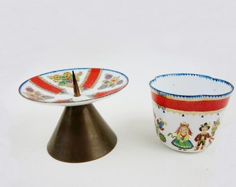 Vintage Folk Enamel Footed Candle Holder and Tumbler from Steinböck Austria in Red, White and Gold
