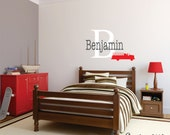 Childrens Name Firefighter Wall Decal - Fireman Boys Name Vinyl Wall Decal - Fire Truck Baby Nursery Wall Decal