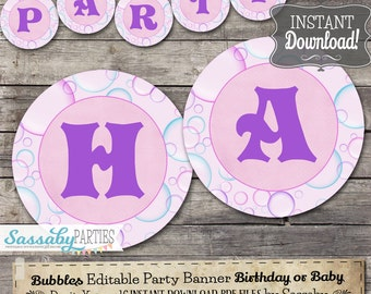 Bubbles Party Banner - INSTANT DOWNLOAD - Editable & Printable Birthday Decorations, Decor, Bunting by Sassaby Parties
