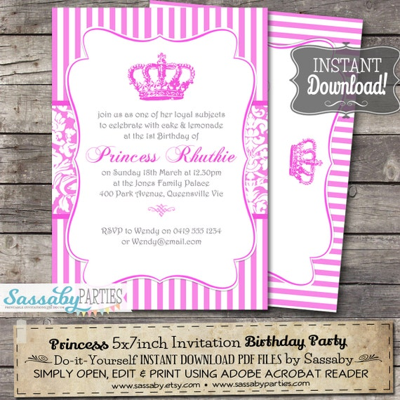 Princess birthday party invitation instant download editable il570xn stopboris Choice Image