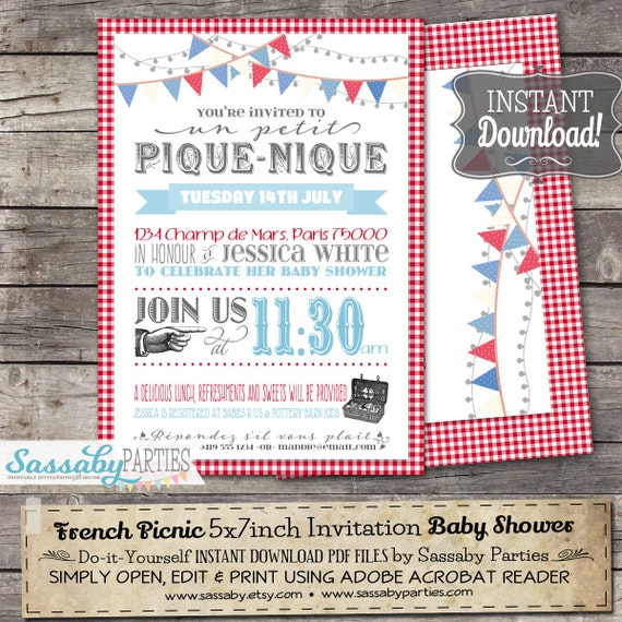 French Picnic Invitation  Instant Download  Editable  Printable
