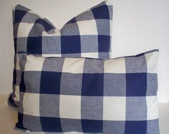 Navy Check Pillow Buffalo Check Pillow  Indigo Dark Blue Check Pillow Indigo Check Pillow Navy Gingham Pillow