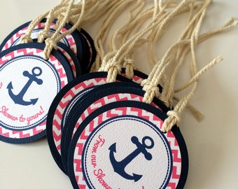 Nautical Favor Tags for First Birthday or Baby Shower Baby Girl - Navy - Hot Pink - White - Anchor