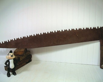 Antique One Man CrossCut Collector's Logging Saw - Vintage Very Large Single Wooden Handled Buck Toothed Metal Saw - Rustic Cabin Decor Tool