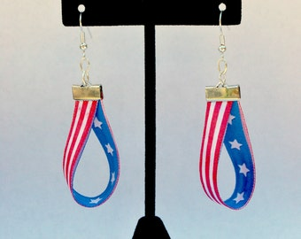 Red White & Blue, Flag Earrings, Stars and Stripes, Fourth of July Jewelry, Patriotic Jewelry, Ribbon Earrings, Support Our Troops, Military
