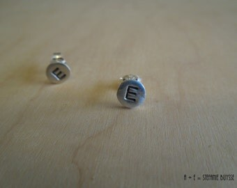 Uppercase Tiny Letters Post Earrings Sterling Silver Original Handmade