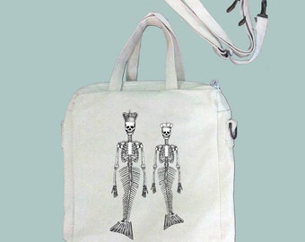 Fun Mermaid Skeletons Whimscal Altered Art Illustration Tablet Bag/Carrier, Cosmetic Case -- Removable, Adjustable shoulder strap