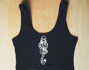 Dark Mark Spandex Crop Tank - Made in USA by So Effing Cute - Harry Potter inspired