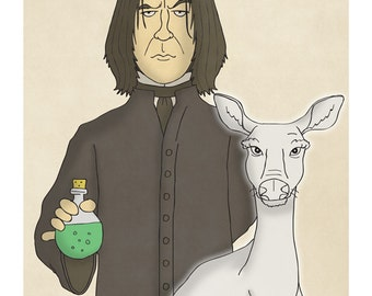 Severus Snape and Patronus of a Doe - Harry Potter Art - Harry Potter Prints - Harry Potter Portrait -  Illustration Art Print
