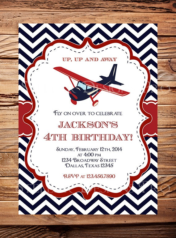 Airplane Birthday Invitation Navy Red Chevron Plane Birthday