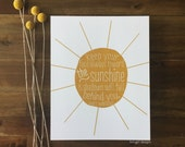 The Sunshine Print - Walt Whitman Quote - Perfect for encouragement, graduation, nursery, collage wall