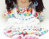 ethnic latino latina indian black hair tan skin handmade doll handmade ragdoll, rag dolls, cloth doll,  NF236