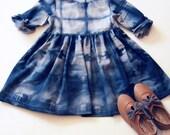 Girls Dress Hand Dyed Shibori Dress Tie Dye Dress Spring Dress Long Sleeve Dress Purple Dot Fabric Polka Dot Cotton Dress Baby Clothing Fall