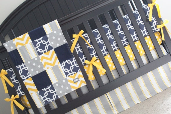 Items similar to custom baby bedding navy blue yellow - Navy blue and yellow bedding ...