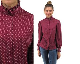 Vintage 70s Polka Dot Blouse, Secretary Blouse, Boho Blouse, Ruffle Collar, Seeing Dots Top Δ size: sm / md