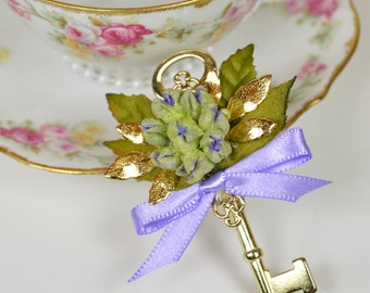 Gold Skeleton Key Boutonniere