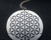 Kabbalah Flower of Life Pendant - sterling silver and oxidised copper - Handcrafted Sacred Geometry Jewellery