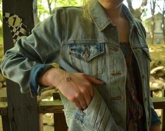 24k Gold or Silver Swarovski Crystal Clover Hand Chain Slave Bracelet - Purple