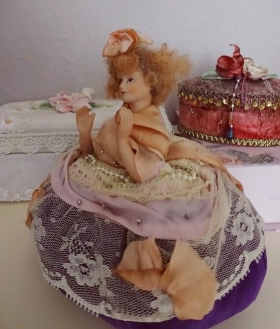 Boudoir Doll,Vintage Pin Cushion, Half Doll Pin Cushion, Vintage Half Doll Pin Cushion, Beautiful Pin Cushion, Antique Pin Cushion