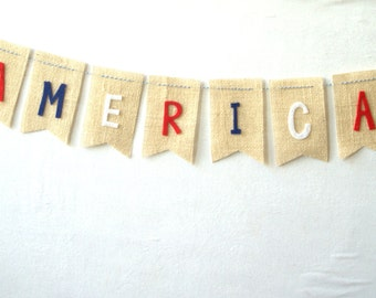 SALE America Burlap Bunting on OFF WHITE Burlap with Stars