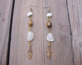 White howlite with quartz and tigers eye earrings