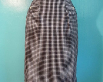 Vintage 60's Black and White Checkered Plaid Cotton Pencil Skirt