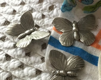 heirloom Silver Moth or Butterfly Charm (2 pc)