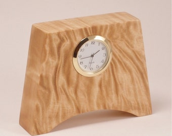 Desk Clock in Amazing Quilted Maple