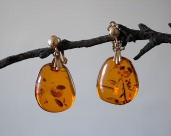 polished amber earrings