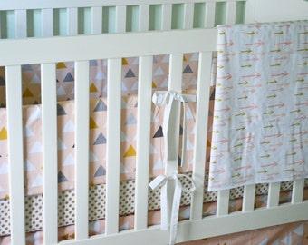 Blush and Gold Crib Bedding Set - 4 Piece Set - Crib Bumper, Fitted Crib Sheet, Crib Skirt, Crib Blanket