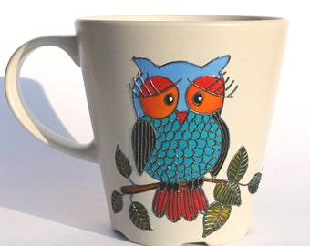 "Owl Mug, Painted Coffee Mug, Hand Painted Mug, Beige Stoneware Mug,  Coffee Mug, Tea Cup, Tea Mug, ""Owl you need is love"" design"