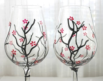 Painted Wine Glasses, Toasting Glasses, Wedding Glasses,  Anniversary Glasses, Cherry Blossom Design, Hand painted, Set of 2