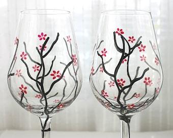 Painted Wine Glasses, Cherry Blossom Glasses, Hand Painted Glasses, Wedding Glasses, Anniversary Glasses, Wine Glasses Personalized,Set of2