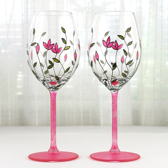 Items Similar To Wine Glasses With Pink Tulips Design