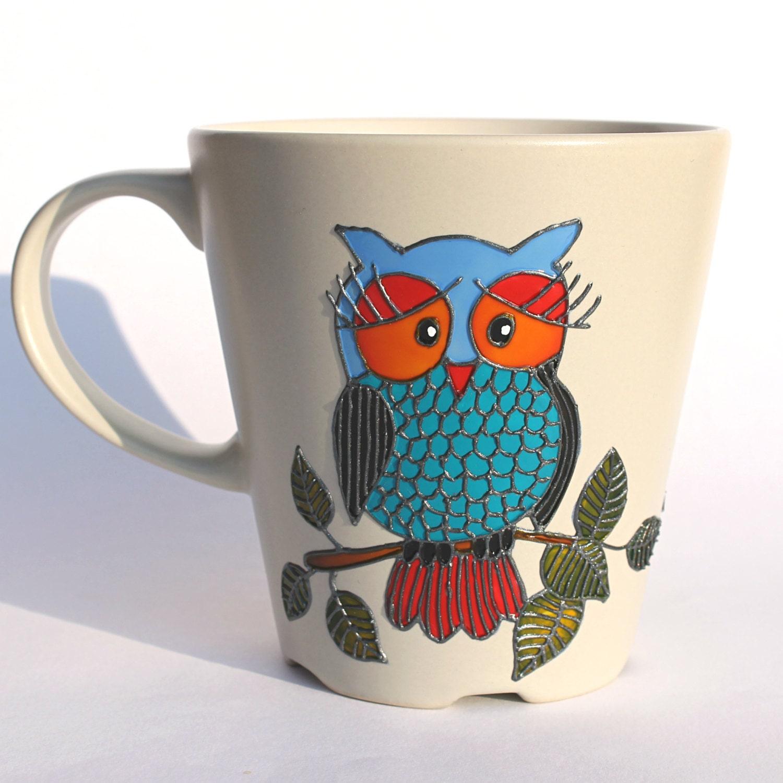 Owl mug painted coffee mug hand painted mug beige stoneware for How to paint a mug