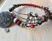 Reserved. Red Leather Gypsy Bracelet, Tribal Stacking Bangle, dark metal Belly Dance Jewelry, boho bracelet, Ethnic Jewelry, Bohemian