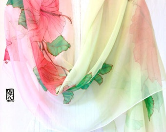 Hand Painted Silk Shawl, Gift for her, Pastel Pink and Green Hibiscus Scarf, Silk Chiffon, Silk Scarves Takuyo, 22x90 in, Made to order.