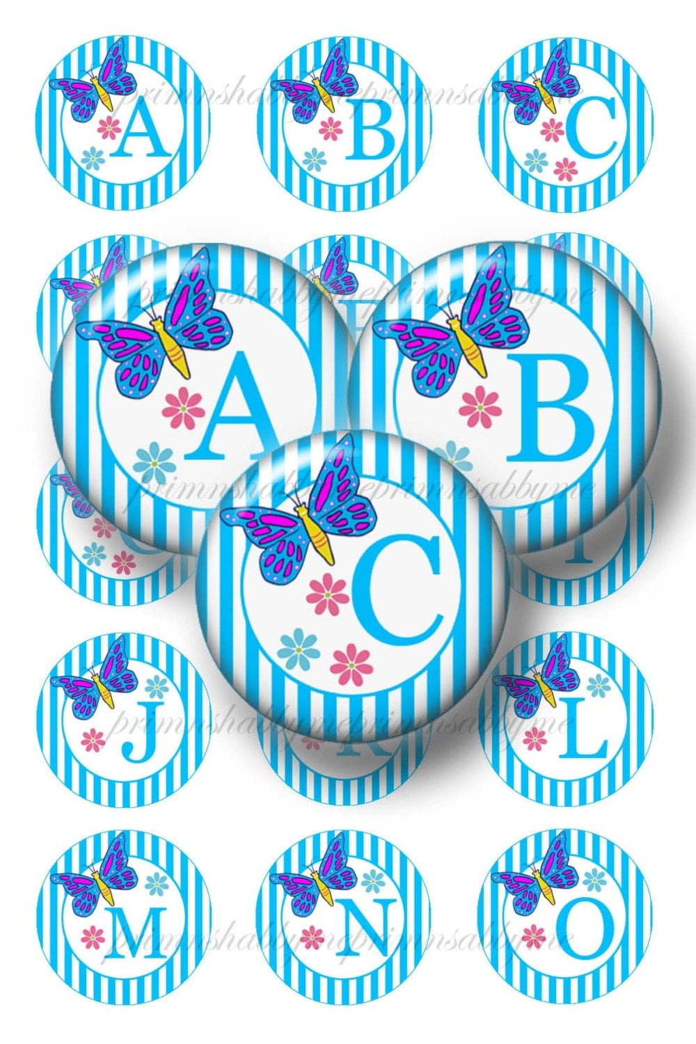Butterflies alphabet letters 1 inch circles digital collage for 1 inch letters