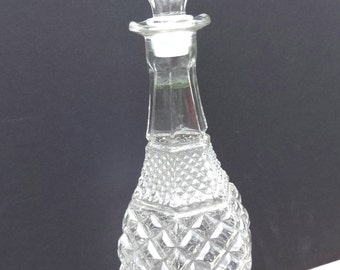 Large Glass Hobnail Vintage Decanter Liquor Bottle