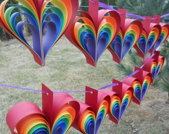 TWO Garlands Of RAINBOW HEARTS. 10 Hearts. Wedding, Shower Decoration, Home Decor. Custom Orders Welcome. Any Color Available.