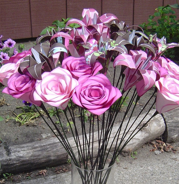 PAPER FLOWER CENTERPIECE, Your Choice Of Colors & Flowers. Wedding, Shower, Party, Gift.