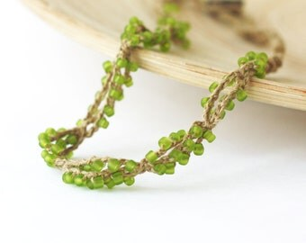 Linen beaded necklace Choose your colorRustic Natural Boho chic Bohemian jewelry