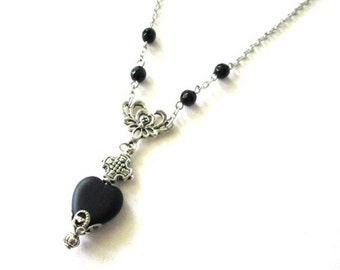 Black heart necklace black onyx jewelry antiqued silver simple necklace Czech heart glass bead