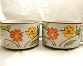 Vintage 1970's Floral Stoneware Soup Bowls, Oversized Mugs, JP Casualstone Flower Bowls, Made in Korea,