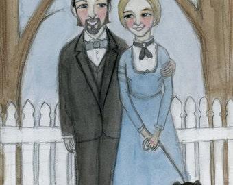 Custom Family Portrait, Victorian Couple (8x10), Art commission, Watercolor portrait painting.Wedding Portrait