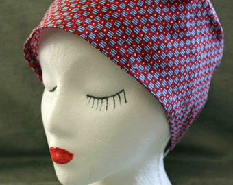 SALE... Red, White and Blue Surgical Cap (biker/chemo/surgical)
