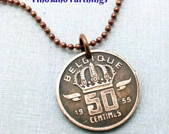 Coin Jewelry - Vintage Belgium coin necklace - man necklace - mens gift - Belgique - miner - art deco coin necklace