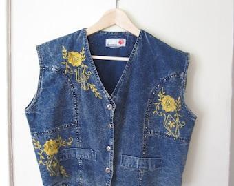 Vintage Embroidered Denim Vest / V-neck Jean Vest