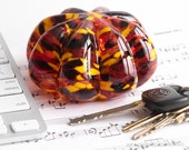 Hand Crafted Glass Paperweight - Ribbed with Fall Color Dots
